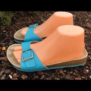 Tula Teal Blue Leather Slide On Thong Sandals